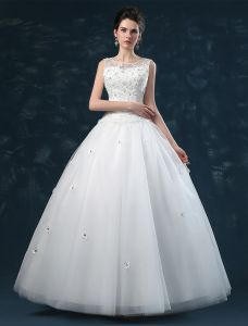 2015 Ball Gown Shoulders Square Neckline Handmade Flowers Organza Wedding Dress