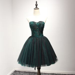 Chic / Beautiful Dark Green Cocktail Dresses 2017 Ball Gown Sweetheart Sleeveless Appliques Lace Beading Pearl Rhinestone Short Ruffle Backless Formal Dresses