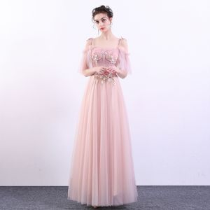 Elegant Candy Pink Prom Dresses 2019 A-Line / Princess Spaghetti Straps Lace Flower Pearl Short Sleeve Backless Floor-Length / Long Formal Dresses