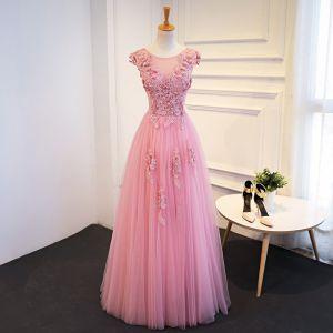 Schöne Pink Ballkleider 2018 A Linie Mit Spitze Applikationen Pailletten Rundhalsausschnitt Rückenfreies Ärmellos Lange Festliche Kleider