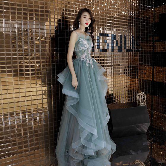 Mode Jade Grön Balklänningar 2019 Prinsessa Spaghettiband Appliqués Spets Ärmlös Halterneck Cascading Volanger Långa Formella Klänningar