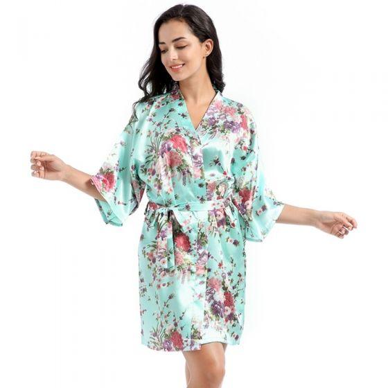Fancy Jade Green Wedding Bridesmaid Bridal Printing Flower Silk Robes 2020 V-Neck 3/4 Sleeve Sash