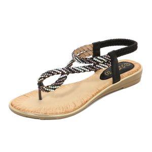 Bohemia Summer Black Beach Slipper & Flip flops 2020 Rhinestone Open / Peep Toe Womens Shoes