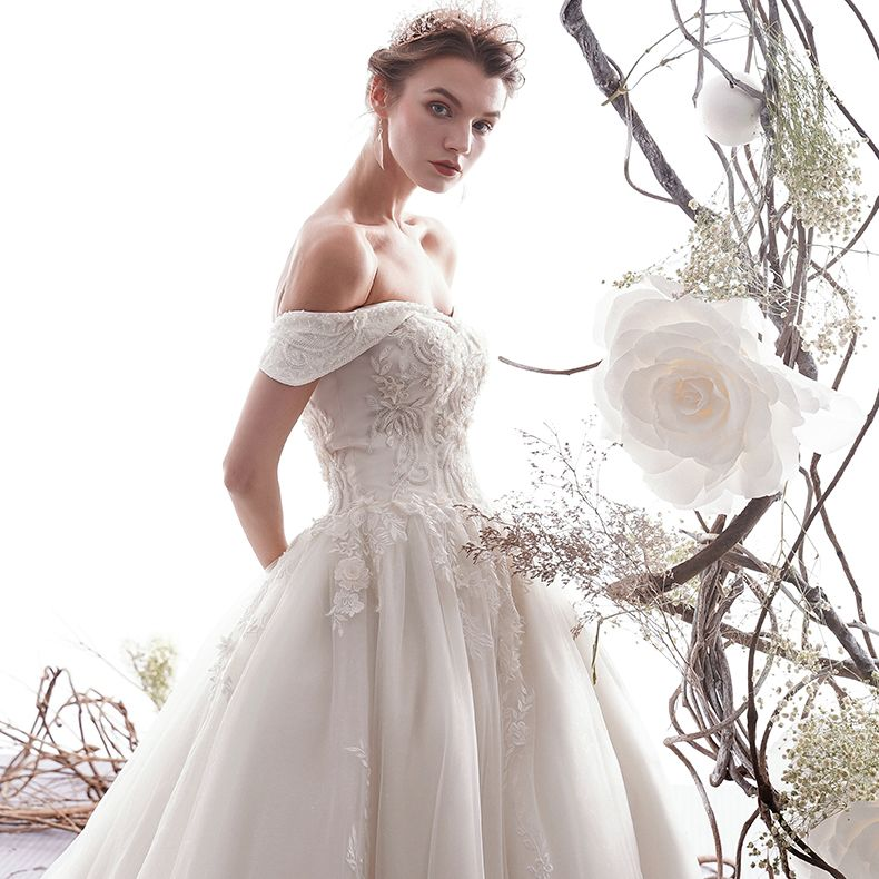 Elegant Ivory Wedding Dresses 2019 A-Line / Princess Off-The-Shoulder Beading Lace Flower Short Sleeve Backless Cathedral Train