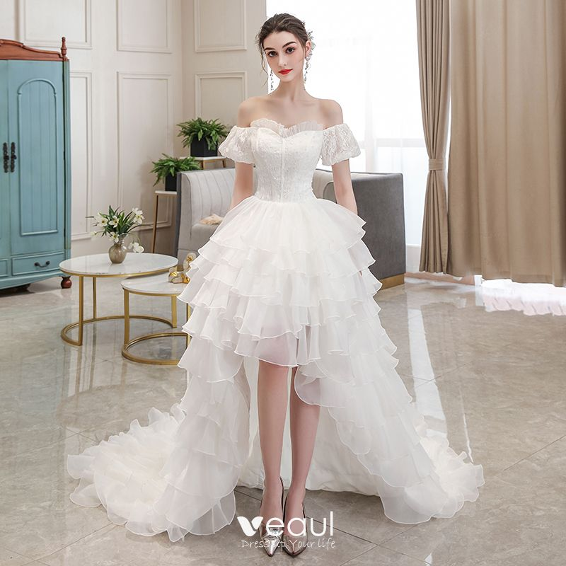 Affordable Ivory Beach Summer Wedding Dresses 2020 Ball Gown Off The Shoulder Puffy Short Sleeve Backless Asymmetrical Cascading Ruffles,Wedding Dress Sparkle Lace