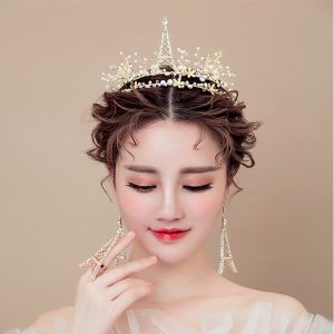 Luxury / Gorgeous 2017 Gold Rhinestone Metal Tiara Bridal Jewelry