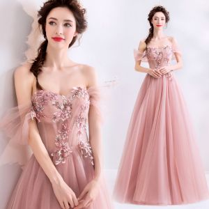 Chic / Beautiful Blushing Pink Prom Dresses 2019 A-Line / Princess Off-The-Shoulder Pearl Rhinestone Lace Flower Sleeveless Backless Floor-Length / Long Formal Dresses