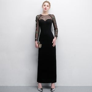 Elegant Black Evening Dresses  2018 Trumpet / Mermaid Crystal Scoop Neck See-through Long Sleeve Ankle Length Formal Dresses