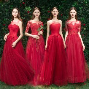 Élégant Rouge Robe Demoiselle D'honneur 2019 Princesse Appliques En Dentelle Perlage Longue Volants Robe Pour Mariage