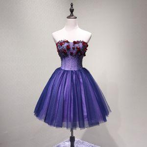 Sexy Violett Partykleider 2018 A Linie Applikationen Perlenstickerei Kristall Pailletten Schleife Bandeau Rückenfreies Ärmellos Kurze Festliche Kleider