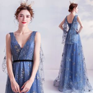 Fashion Ocean Blue Prom Dresses 2020 A-Line / Princess V-Neck Glitter Star Sequins Sleeveless Backless Floor-Length / Long Formal Dresses