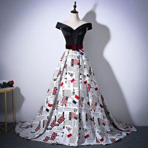 Unique Noire Robe De Soirée 2018 Princesse Charmeuse Dos Nu Impression Bustier Soirée Robe De Ceremonie