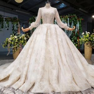 Eye-catching Bling Bling Champagne Ball Gown Wedding Dresses 2020 Long Sleeve Scoop Neck Crossed Straps Handmade Beading Backless Crystal Glitter Rhinestone Sequins Cathedral Train Wedding