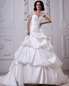 Elegant Satin A Volants Perles Cathedrale Sweatheart Mariée A-ligne De Robe De Mariage De Robe