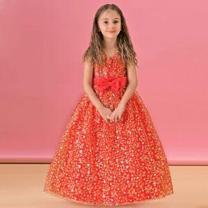 Longue Section D'hiver De Jeune Fille Princesse Fleur Robe Rouge Robe Automne