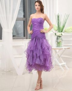 Tea Length Strapless Sleeveless Pleated Ruffles Organza Woman Prom Dress