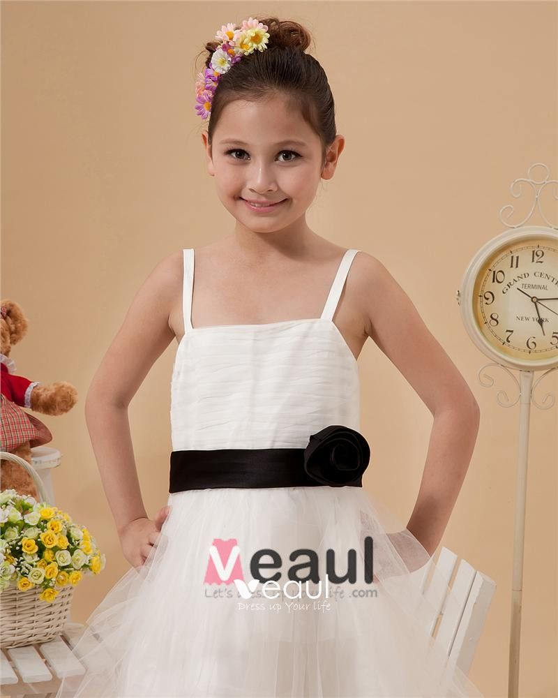 Satin Mesh Ruffle Sash Spaghetti Strap Tea Length Flower Girl Dresses