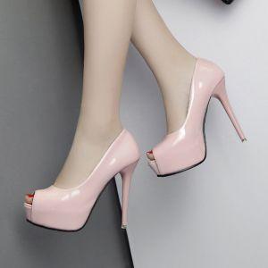 Chic / Beautiful Prom Pumps 2017 Leather Platform Open / Peep Toe High Heel Pumps