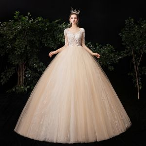 Illusion Champagne See-through Outdoor / Garden Wedding Dresses 2020 Ball Gown Square Neckline 1/2 Sleeves Appliques Lace Beading Bow Sash Floor-Length / Long Ruffle