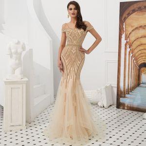Luxury / Gorgeous Gold Evening Dresses  2019 Trumpet / Mermaid Off-The-Shoulder Spaghetti Straps Short Sleeve Beading Floor-Length / Long Ruffle Backless Formal Dresses