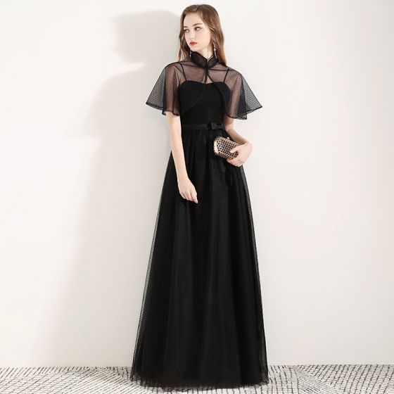 Chinese style Black Evening Dresses  With Shawl 2019 A-Line / Princess Spaghetti Straps Sleeveless Bow Sash Spotted Tulle Floor-Length / Long Ruffle Backless Formal Dresses