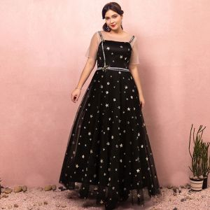 Chic / Beautiful Black Plus Size Prom Dresses 2018 A-Line / Princess Zipper Up Tulle U-Neck Star Backless Beading Sequins Embroidered Evening Party Evening Dresses