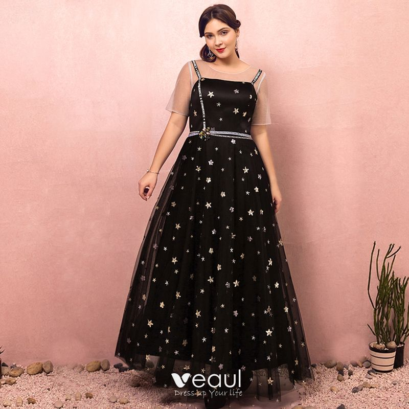 Chic / Beautiful Black Plus Size Prom Dresses 2018 A-Line / Princess Zipper  Up Tulle U-Neck Star Backless Beading Sequins Embroidered Evening Party ...