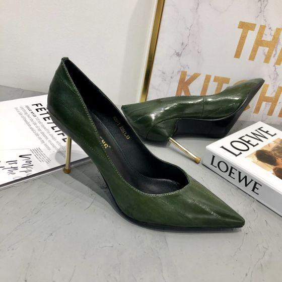 Chic / Beautiful Dark Green Street Wear Leather Pumps 2020 Pointed Toe 7 cm Stiletto Heels Pumps