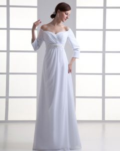 Chiffon Ruffle Beading Off The Shoulder Floor Length Pleated Empire Wedding Dress