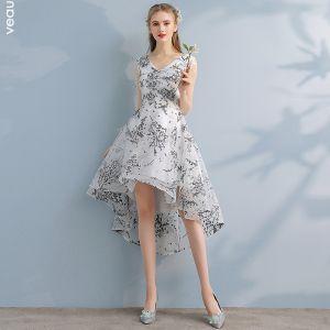 Chic / Beautiful White Printing Homecoming Graduation Dresses A-Line / Princess 2017 Asymmetrical Backless V-Neck Sleeveless Formal Dresses