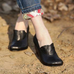 Chic / Belle 2017 Noire 6 cm Marron Jardin / Extérieur Cuir Été Appliques Talons Hauts Talons Épais Sandales Sandales Femme