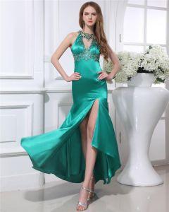 Charmeuse Elegant Perles Bijou Asymetrique Longueur Femmes Robe De Bal