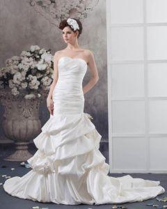 Satin A Volants Sans Bretelles Decor De Fleur De Chapelle De Sirène De Mariée Robes De Mariage De Robe