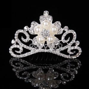 Flower Girl Headdress Hair Bands Hairpin Comb The Bangs Comb Crystal Rhinestones Small Crown