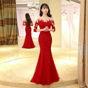 Mode Burgunderrot Abendkleider 2017 Mermaid Lange Rundhalsausschnitt 3/4 Ärmel Rückenfreies Mit Spitze Applikationen Durchbohrt Festliche Kleider