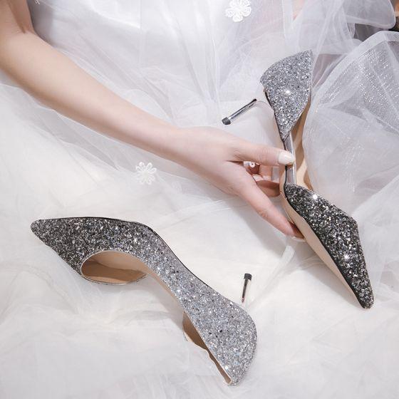 Sjarmerende Sølv Brudesko 2019 Paljetter 7 cm Stiletthæler Spisse Bryllup Høyhælte