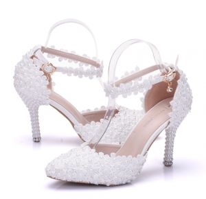 Modern / Fashion White Wedding Shoes 2018 Lace Flower Pearl Ankle Strap 9 cm Stiletto Heels Pointed Toe Wedding High Heels
