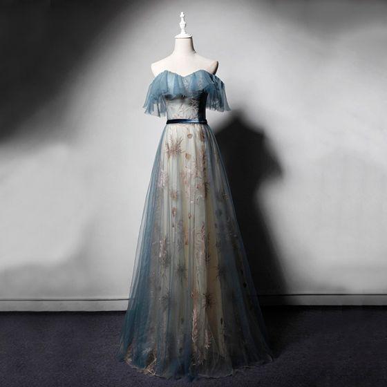 Chic / Belle Bleu D'encre Champagne Robe De Soirée 2019 Princesse Amoureux Manches Courtes Brodé Glitter Ceinture Longue Volants Dos Nu Robe De Ceremonie