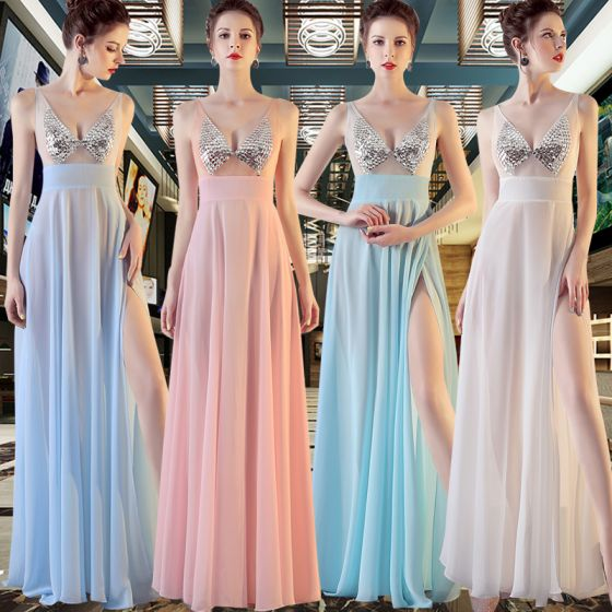 Sexy Chiffon Evening Dresses  2020 A-Line / Princess See-through V-Neck Sleeveless Sequins Split Front Floor-Length / Long Ruffle Backless Formal Dresses