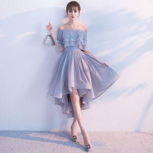 Glanz Silber Cocktailkleider 2017 Off Shoulder Rüschen Asymmetrisch Festliche Kleider