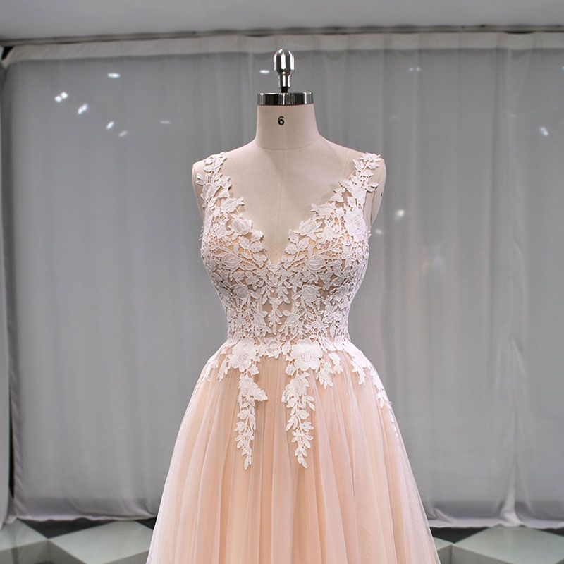 Elegant Champagne See-through Outdoor / Garden Wedding Dresses 2019 A-Line / Princess V-Neck Sleeveless Appliques Lace Sweep Train Ruffle
