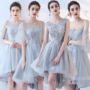 Schöne Himmelblau Brautjungfernkleider 2017 A Linie Mit Spitze Blumen Rückenfreies Kurze Brautjungfer Kleider Für Hochzeit
