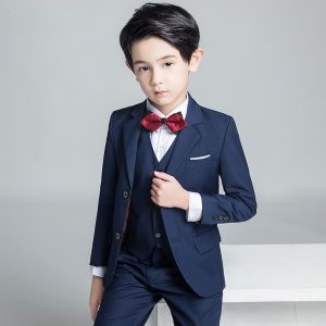 Modest / Simple Navy Blue Boys Wedding Suits 2019