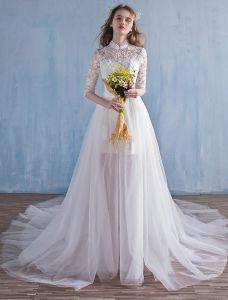 Elegante Strand Hochzeitskleider 2016 A-line Hohen Hals Spitze Brautkleid Mit Abnehmbaren Zug