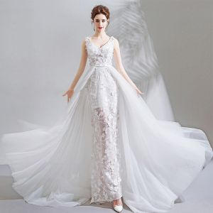 Luxury / Gorgeous White Chapel Train Wedding 2018 Lace-up Tulle V-Neck Beading Appliques Backless Trumpet / Mermaid Wedding Dresses