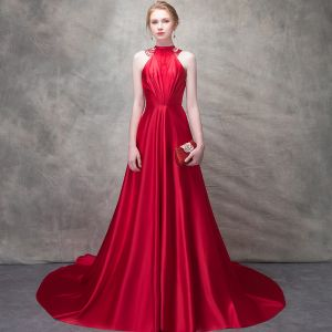 Elegant Red Evening Dresses  2017 A-Line / Princess Bow Beading High Neck Sleeveless Strapless Royal Train Formal Dresses