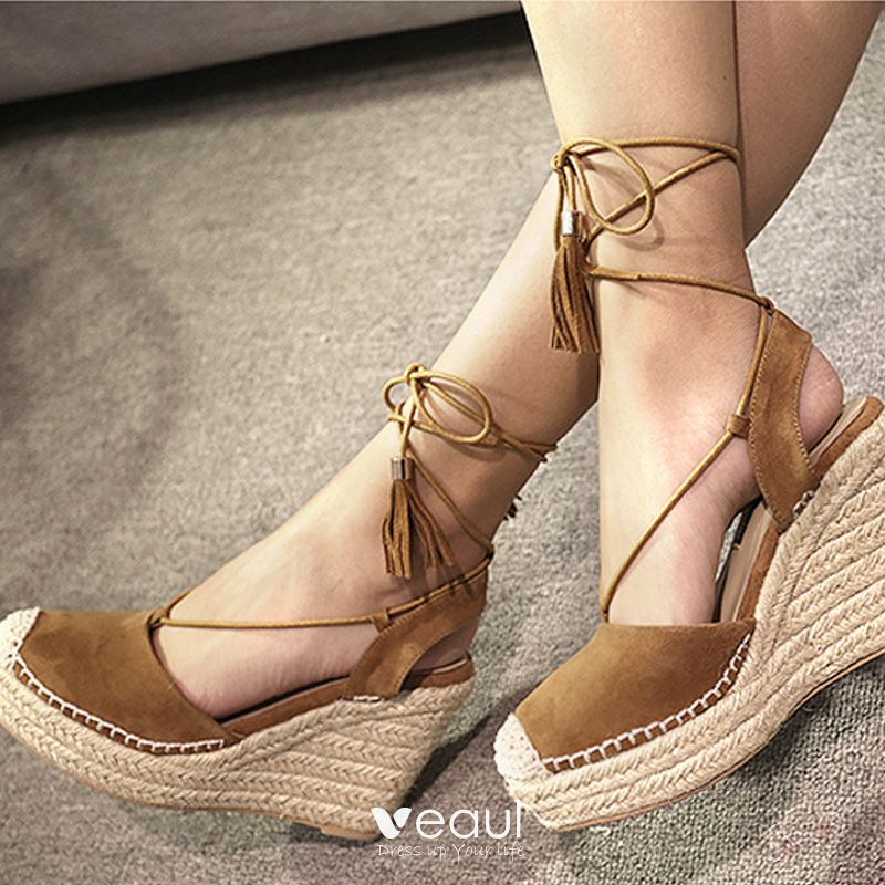 Chic / Beautiful Tan Casual Womens Sandals 2019 Leather Bow Ankle Strap 10 cm Wedges Round Toe Sandals