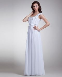 Off Shoulder Beading Pleated Floor Length Chiffon Evening Dress