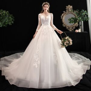 Chic / Beautiful Ivory See-through Wedding Dresses 2020 A-Line / Princess Square Neckline 3/4 Sleeve Backless Appliques Lace Beading Cathedral Train Ruffle