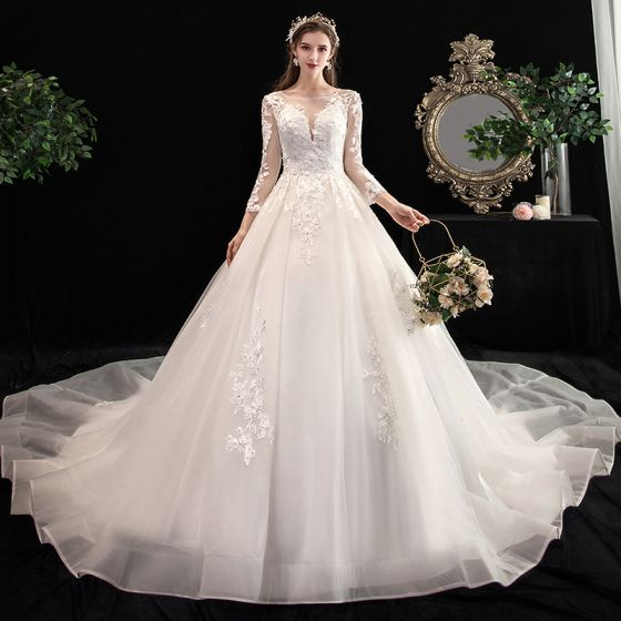 Chic Beautiful Ivory See Through Wedding Dresses 2020 A Line Princess Square Neckline 3 4 Sleeve Backless Appliques Lace Beading Cathedral Train